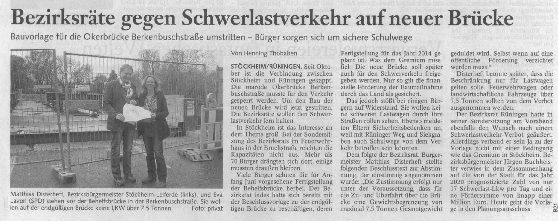 Bezirksräte gegen Schwerlastverkehr auf neuer Brücke (Mit freundlicher Genehmigung der Braunschweiger Zeitung)